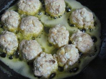 Making the mixture into lemon sized balls