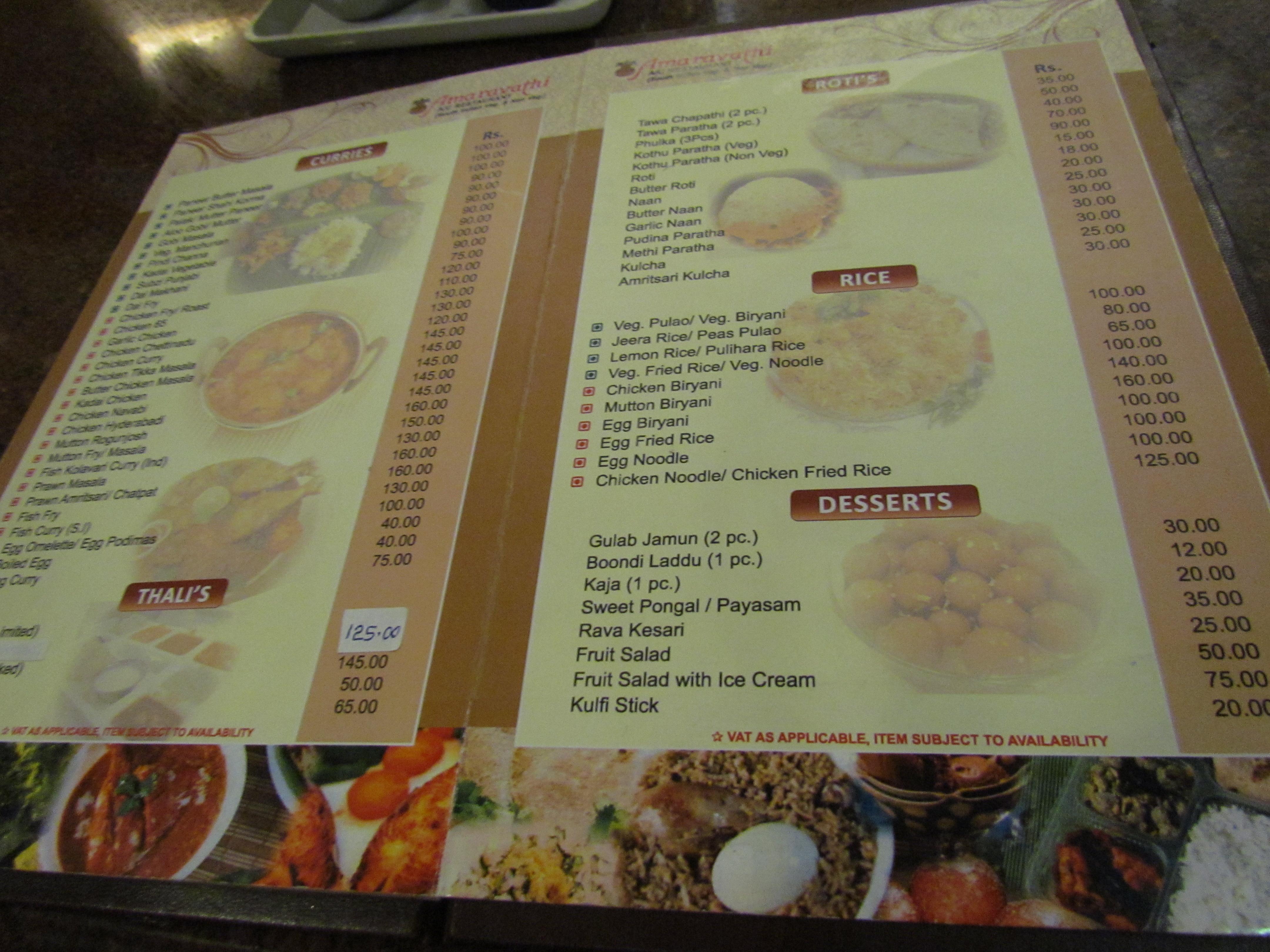 Taj Restaurant Mumbai Menu Card