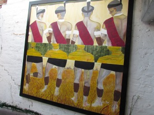 A huge painting depicting Tribal people of Nagaland