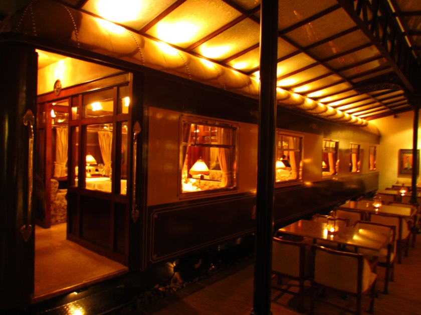 The restaurant located inside a train compartment