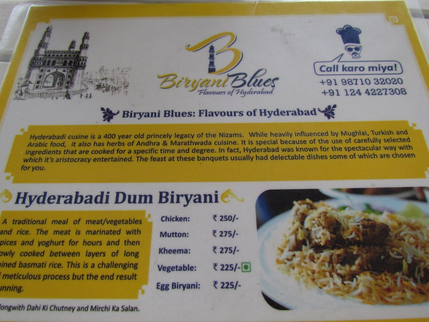 Menu card with contact details