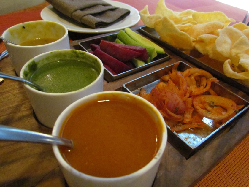Chutneys & papads served at the table