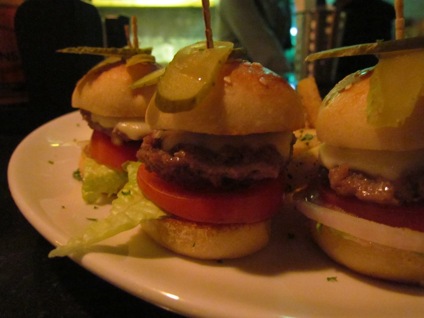 mutton sliders with French fries & ketchup