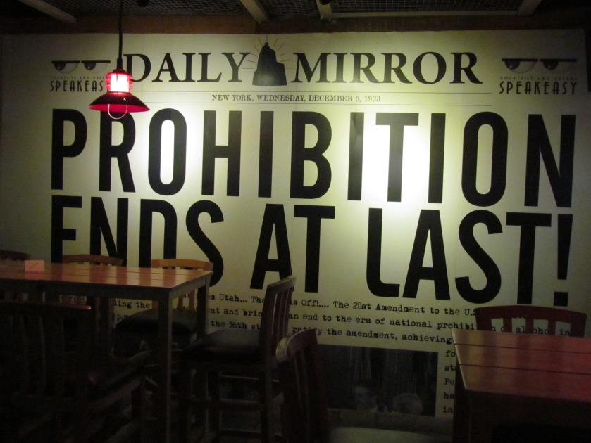 Writing on the wall - Blowup of newspaper of 5th December 1933 - Day prohibition ended