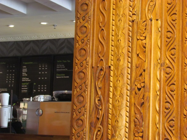 Intricately carved wall wood panels & mismatches on them