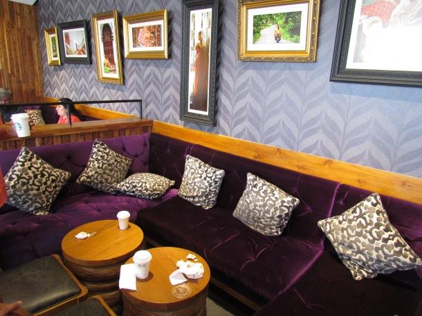 lounge style seating at Starbucks Delhi.