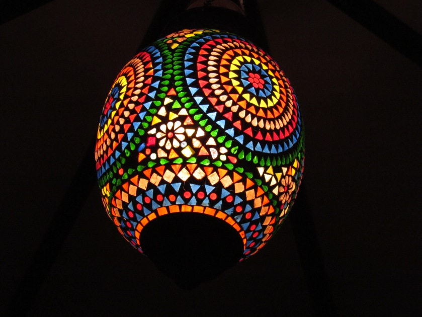 Beautiful lamp shade inside the cabannah