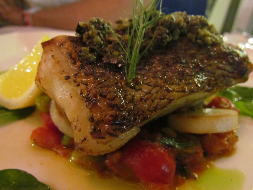 Chilean Seabass – Pan roasted seabass with fondant potato , fava bean ragout, sauce bordigera