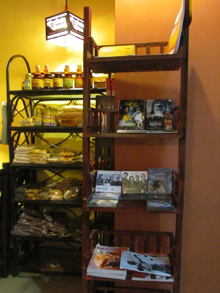 CDs, DVDs, magazines on sale in teh restaurant, in addition to bottled  packed food ingredients.
