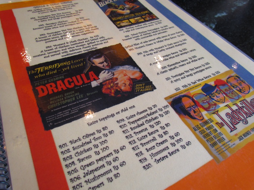 A glimpse of the menu card