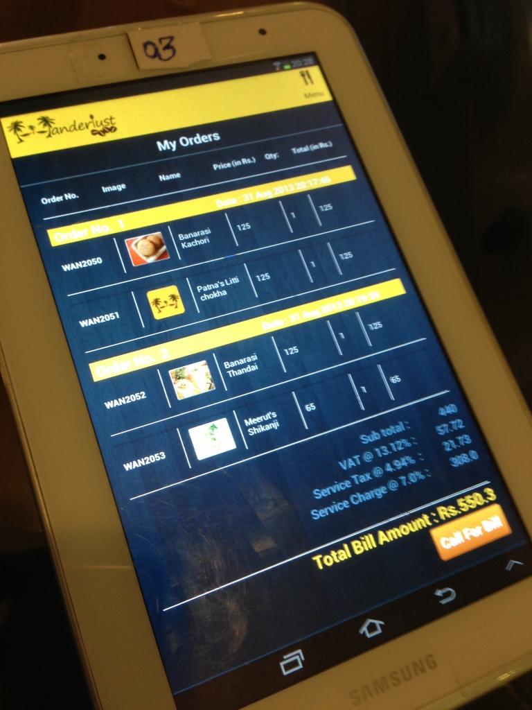 menu card on samsung tablet