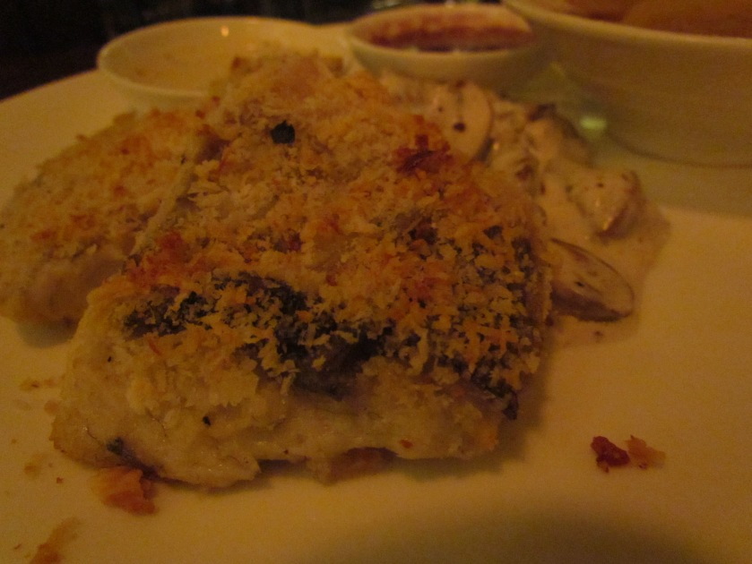 Parmesan encrusted Grilled seabass with creamy Dill & Mustard sauce with Boulangerie potatoes