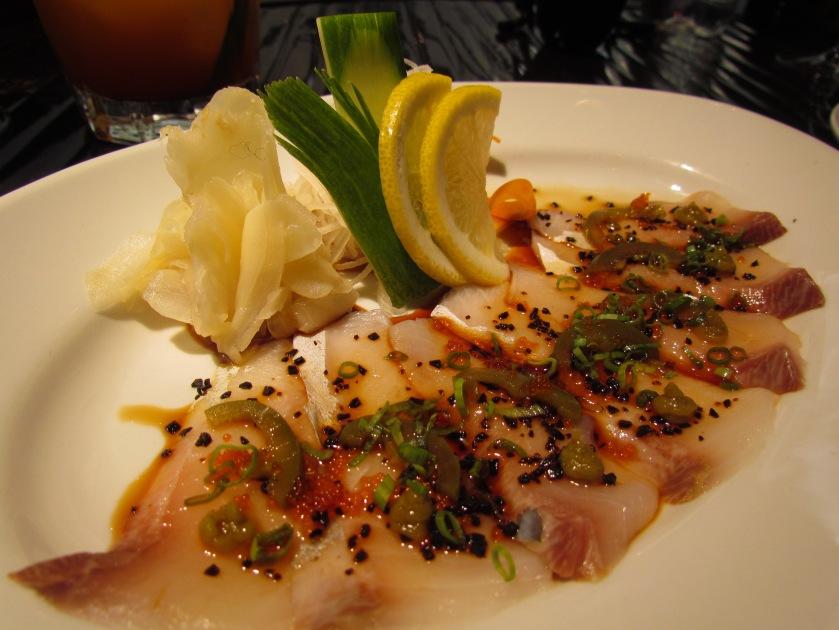 yellow tail tuna (fish) sashimi with yuzu kosho and jalapeño