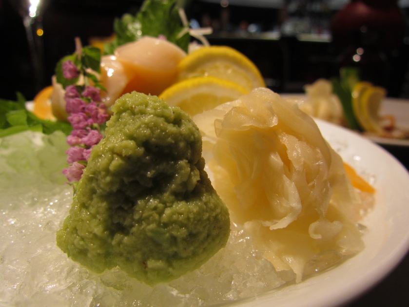 wasabi & gari (pickled ginger) served with scallop sashimi