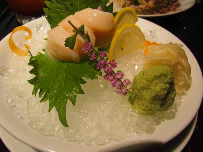 Hotate (Scallop) sashimi served with wasabi, gari (pickled ginger) & Japanese soy