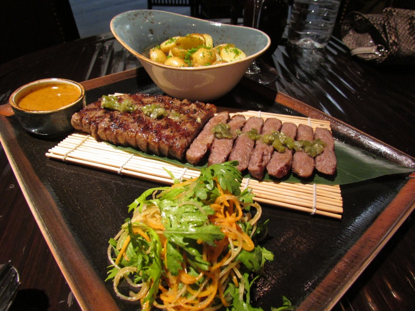 Grilled Wagyu striploin – along with kizami wasabi & roasted baby potatoes.