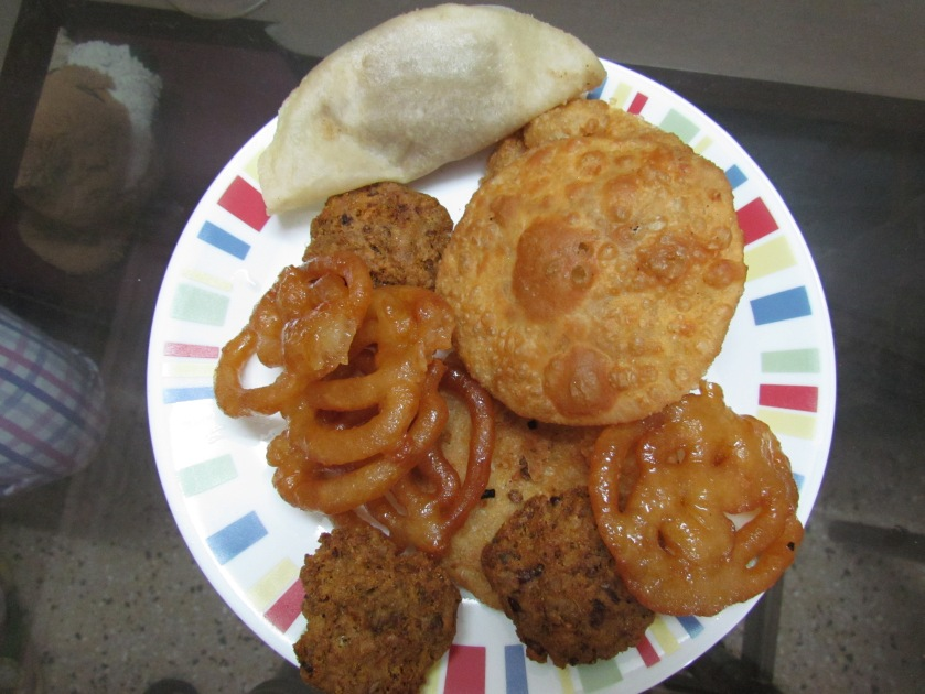 my experiment of daal poori with jalebis & beef tikkis.