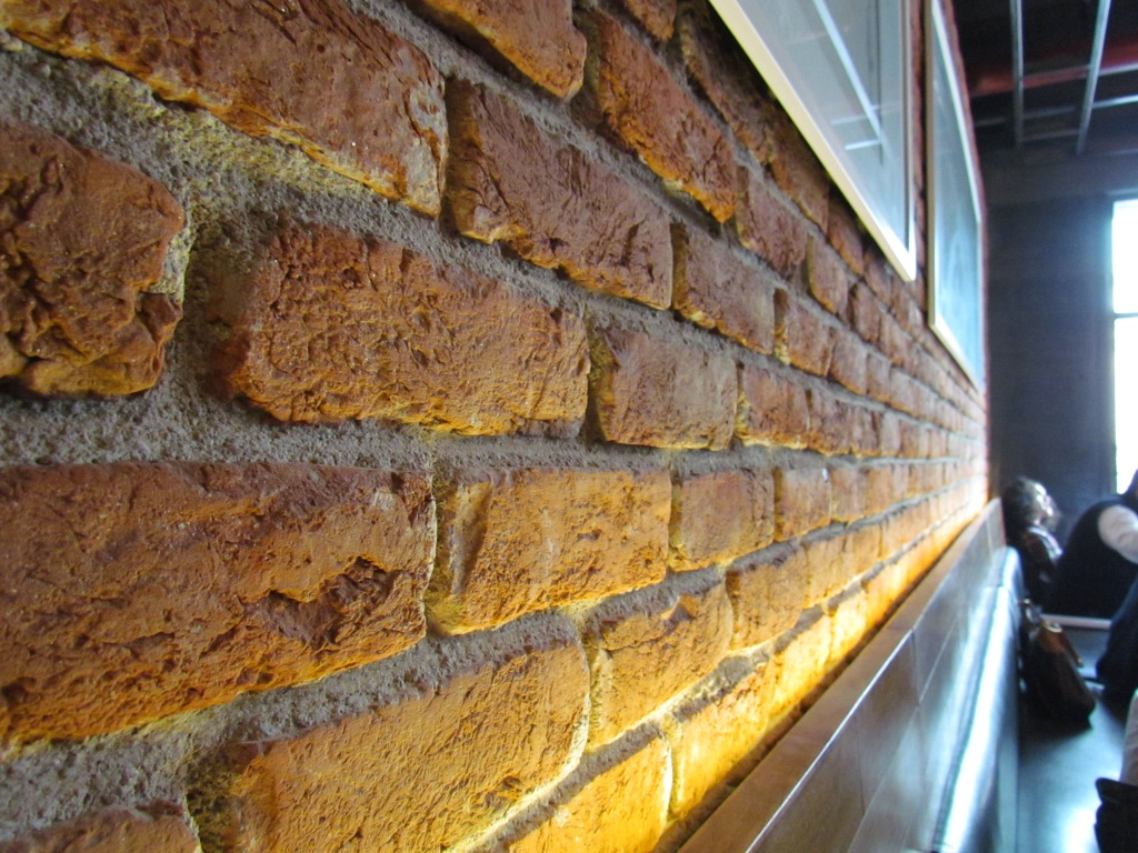 brick finish wall in the Dining hall