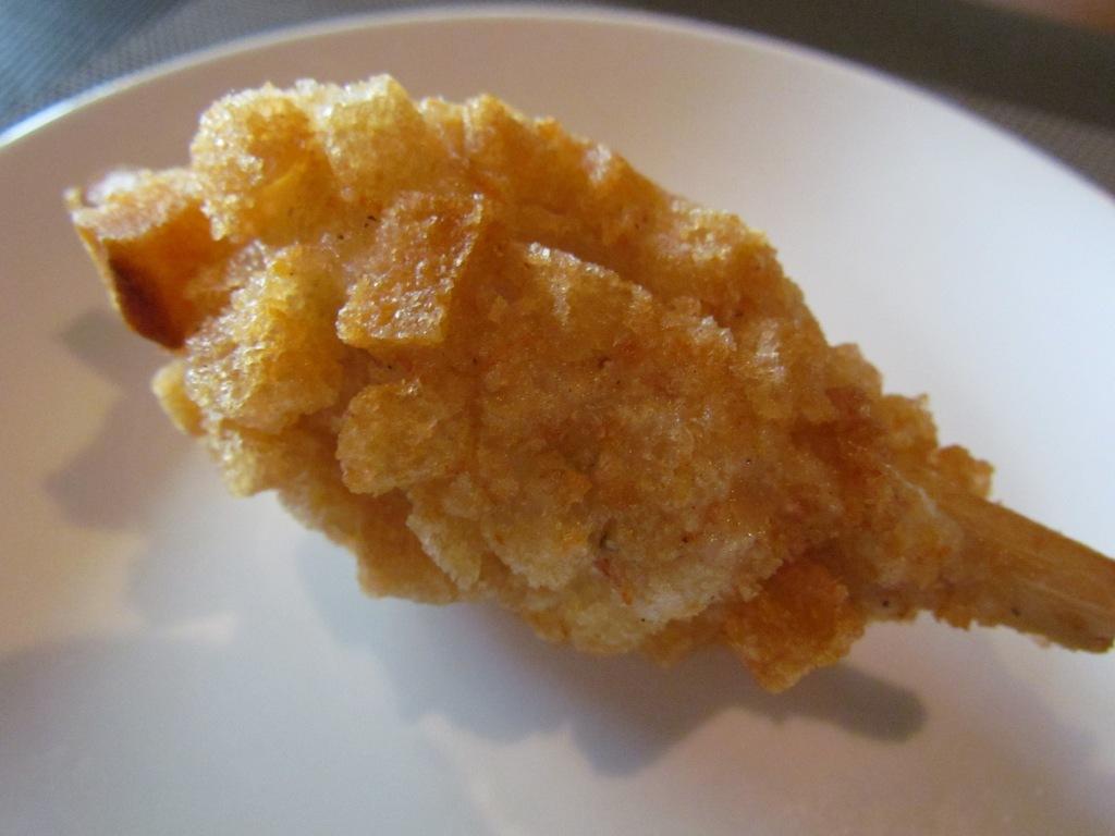 Sugarcane prawn minced crispy croutons'
