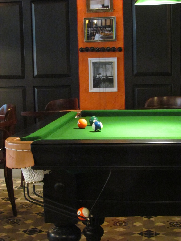 pool table in dining hall
