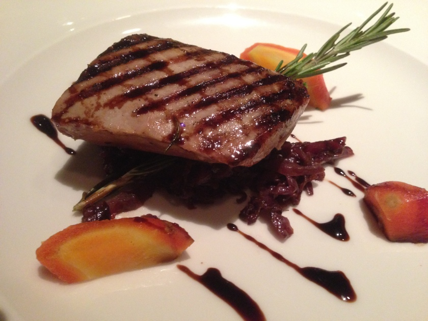 Grilled tuna on braised cabbage