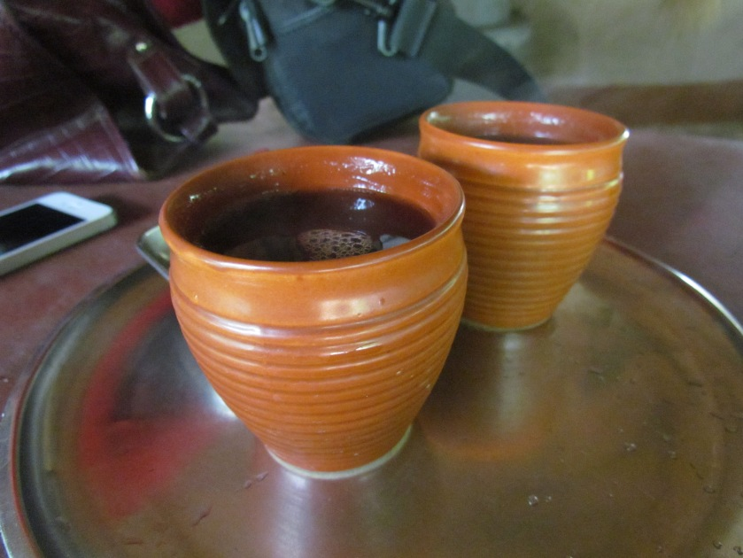 tea served in earthen cups at the canteen