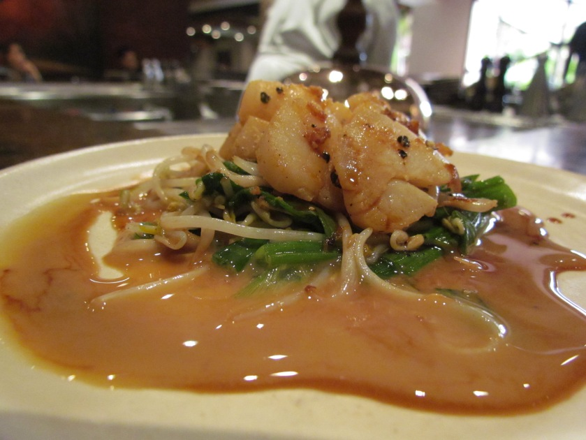 Scallop, spinach, bean sprout & butter ponzu
