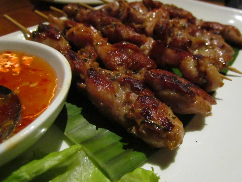 Chicken skewer with Bird Eye Chilly