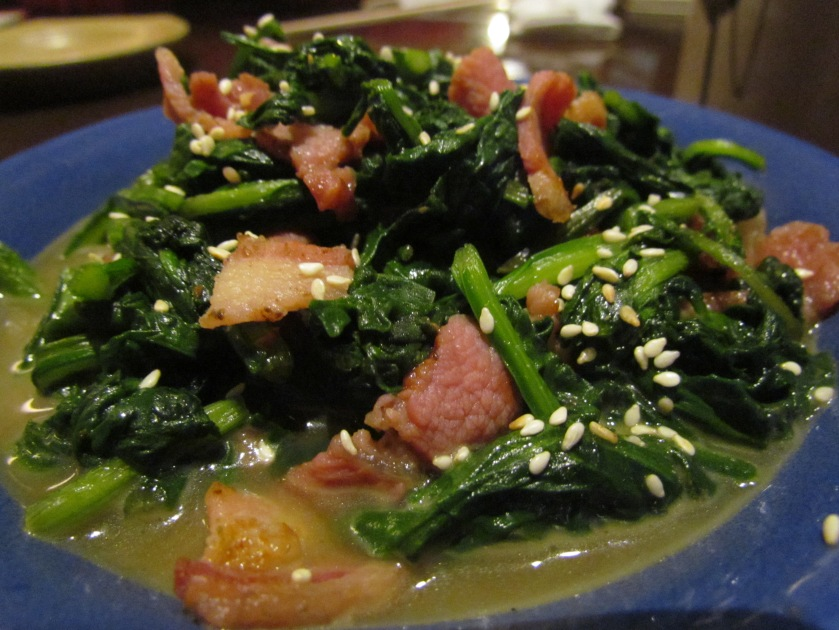 close up of Hourensou bata bacon itame
