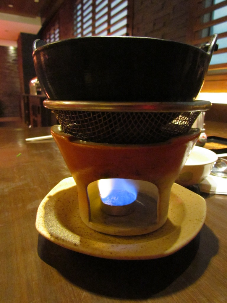 Food Served on the table atop a burner