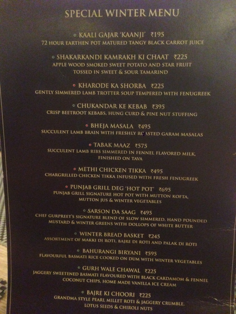 Winter special menu