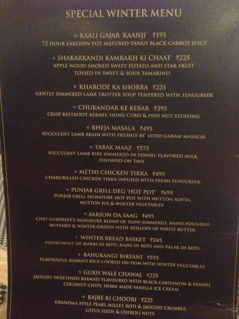 Winter special menu