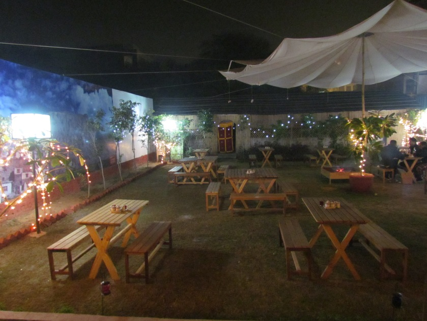 outdoor seating with angeethi to heat up the cold winters.
