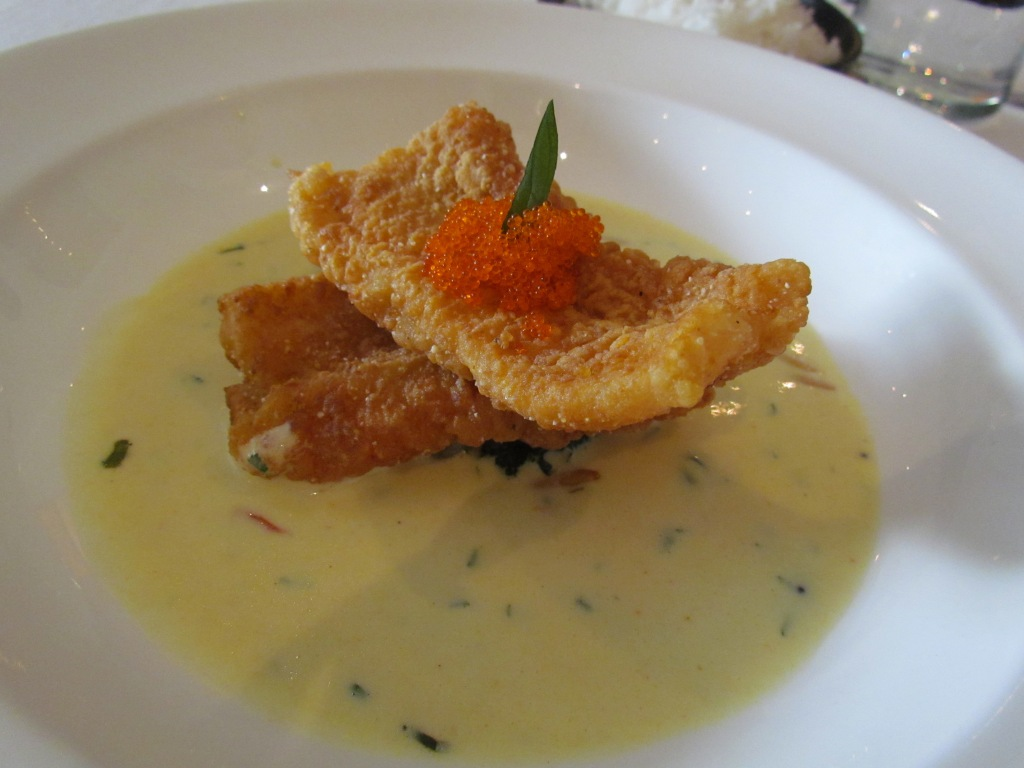 Rice crusted John Dory moilee