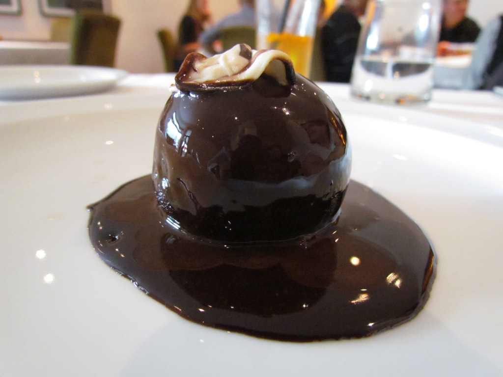 'Old monk' rum ball with 70% valrhona chocolate sauce