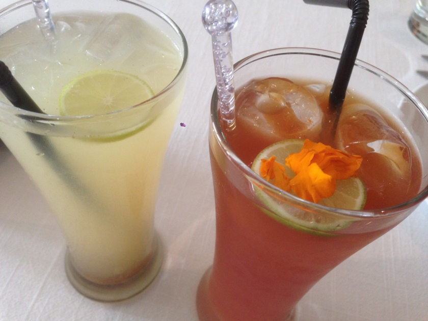 Shikanji on the left  & a drink called marigold on the right