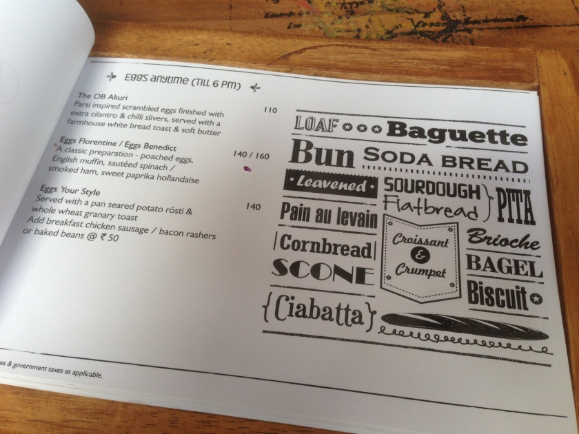 A typical page of the menu card