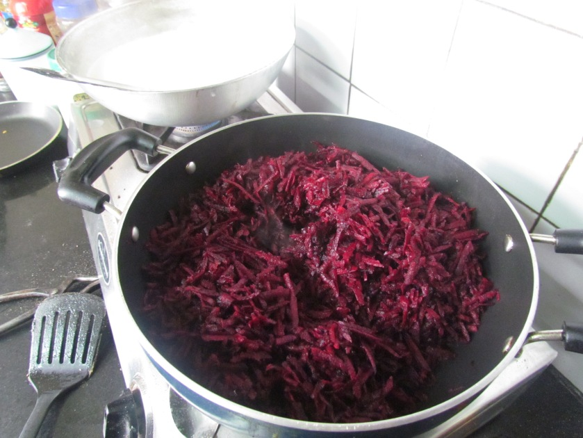 frying the beetroot