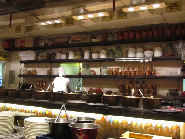 the semi open kitchen area