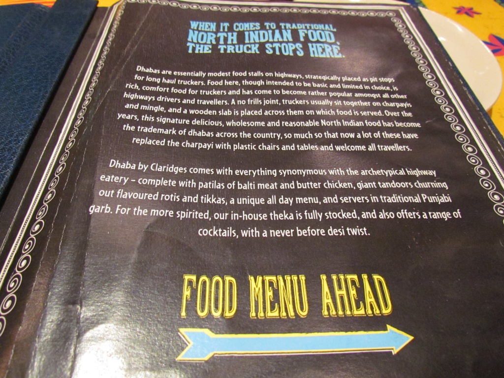 1st page of menu card - about dhaba