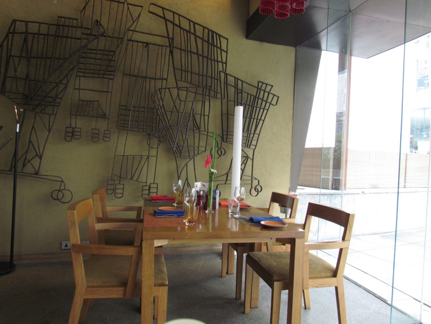 Inside the dining hall - seating and wall decorations