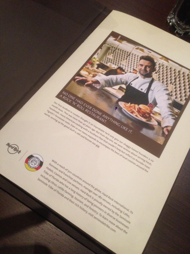 introduction to the HRC story - 1st page of menu card