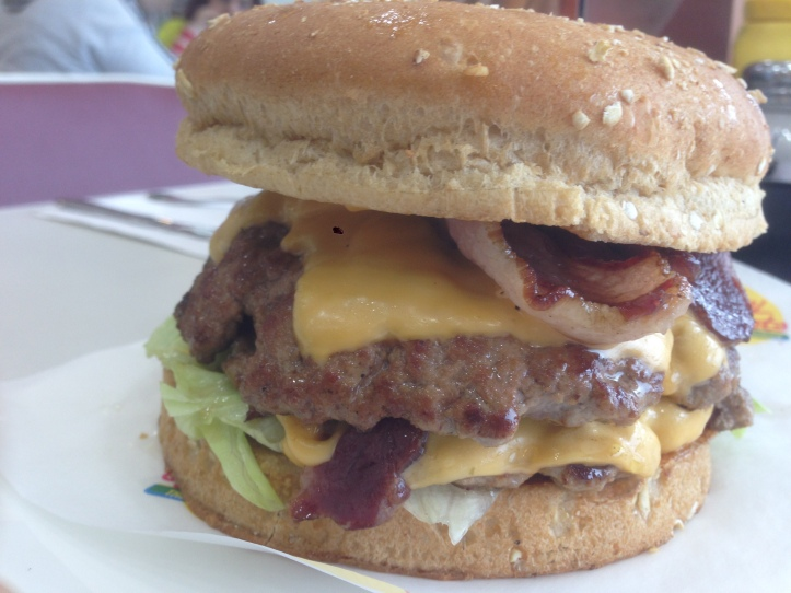 Bacon cheddar double burger