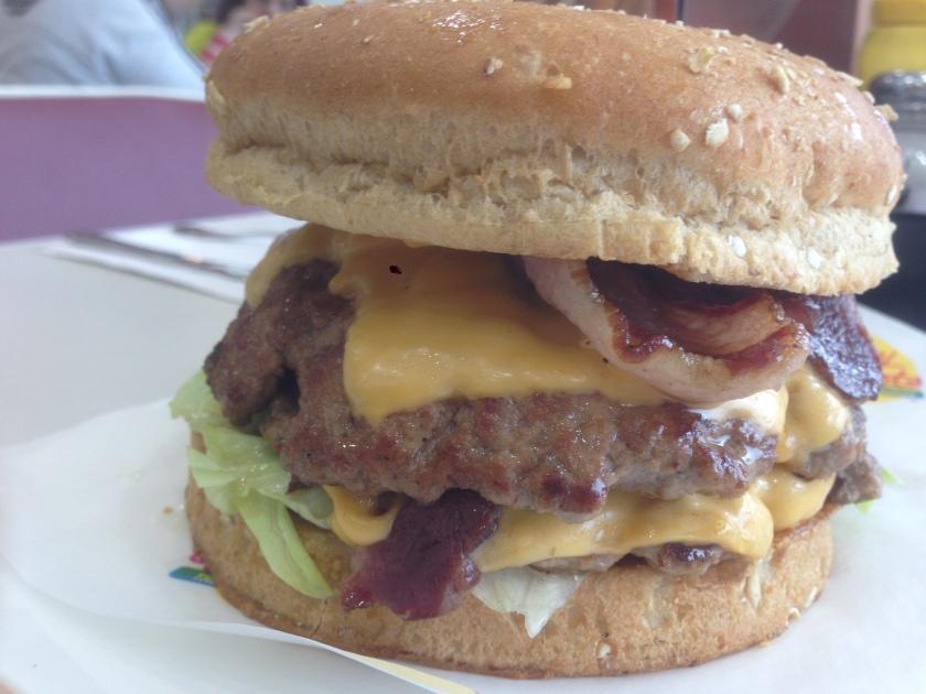 Bacon cheddar double burger