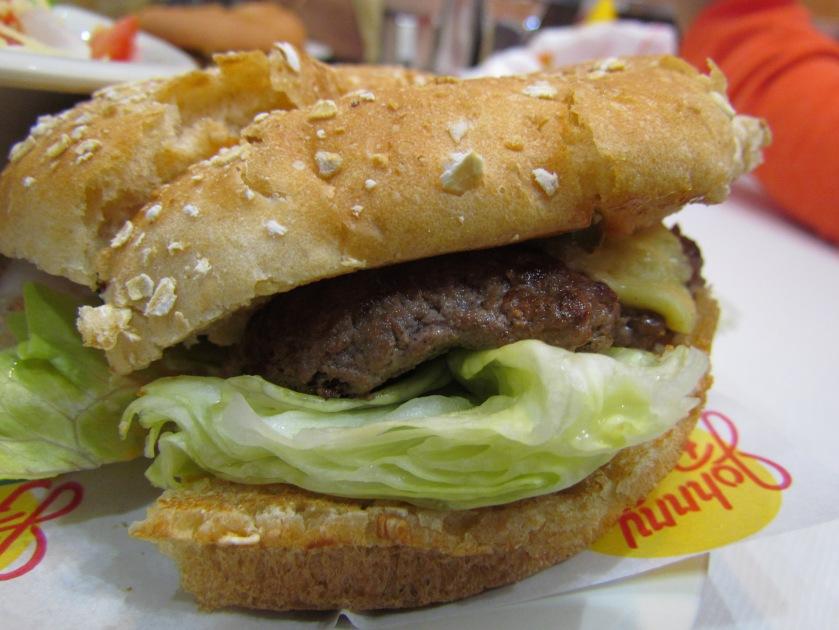 Houston nonveg burger close up.