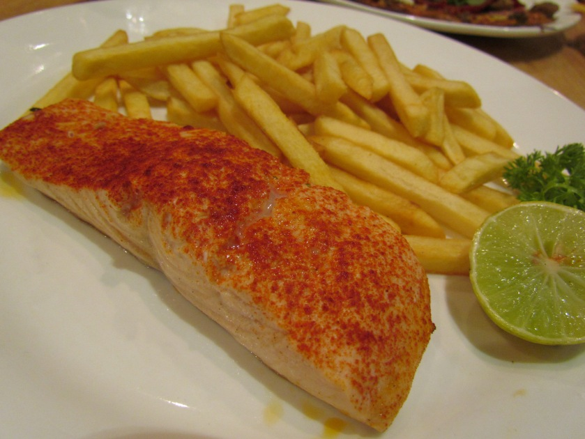 Hearth baked Fish –baked salmon seasoned with lime, salt & paprika