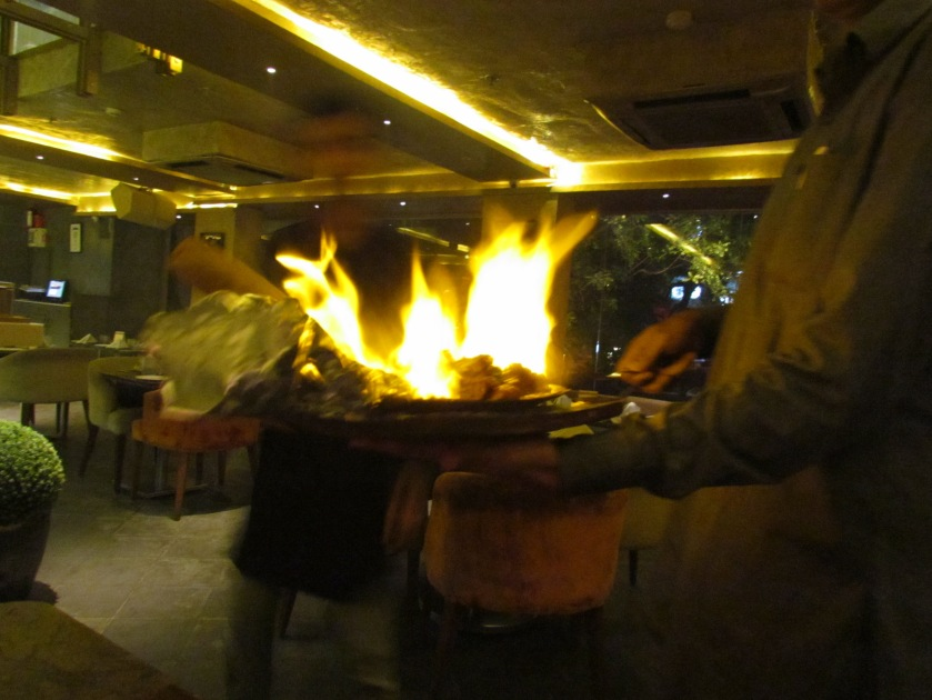 sharaabi raan up in flames during serving