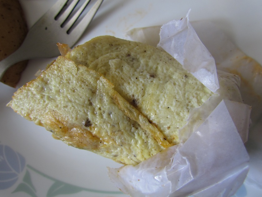 body of the Mexican Chicken omelette wrap - as seen after after removing the paper wrap