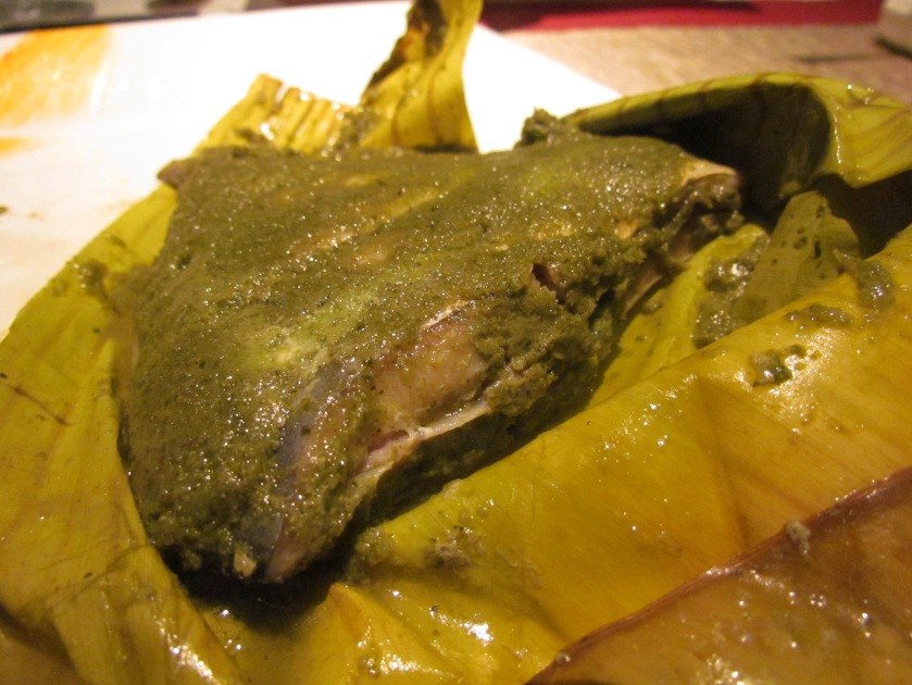 patrani macchi wrapped in banana leaf