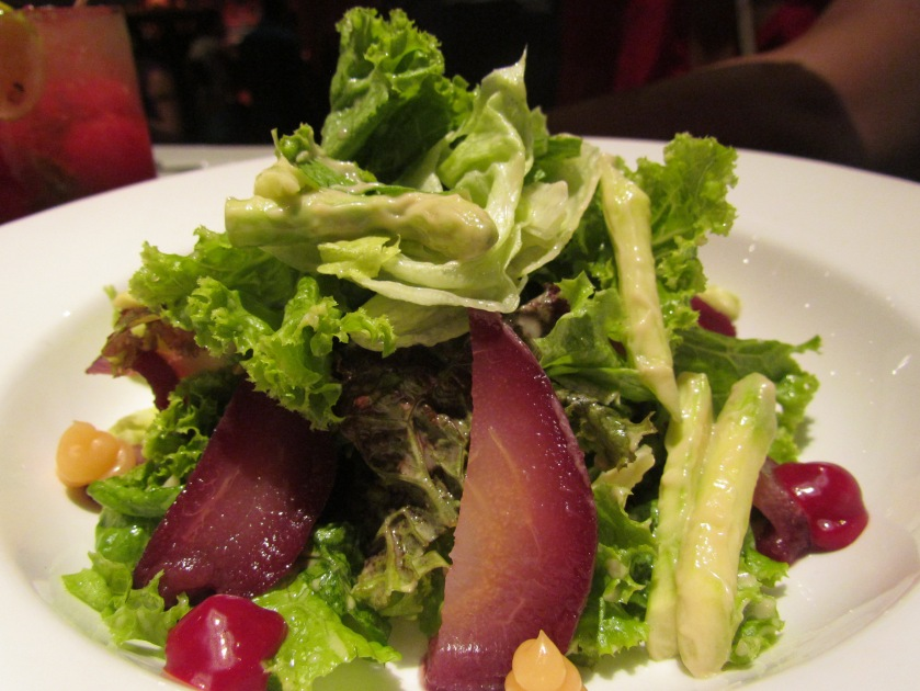 Wine poached pear salad